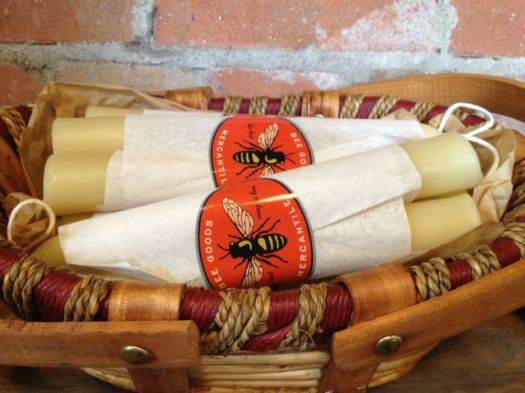 Bee Good, a Navasota-based company, offers beautifully packaged honey as wekk as these pretty beeswax candles.